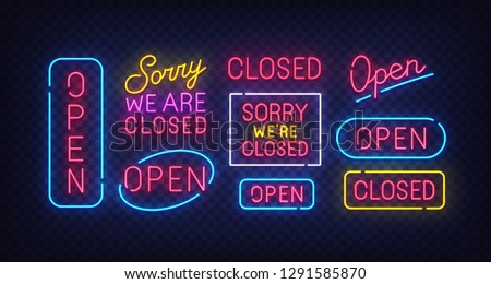 Closed neon sign. Open neon sign. Isolated signs. Label, emblem. Bright signboard, light banner. Vector illustration