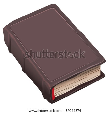Closed Old Book In Brown Cover Isolated On White Vector Illustration