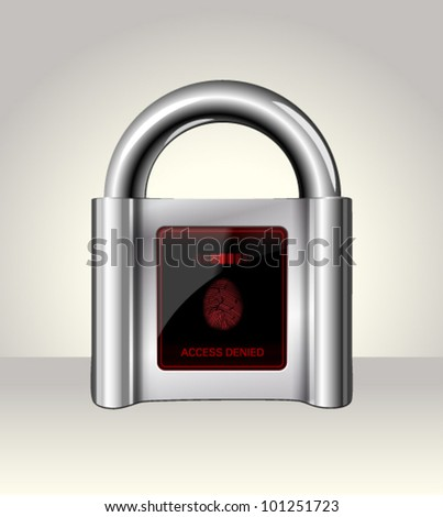 Closed padlock with touch Screen,data security concept - stock vector