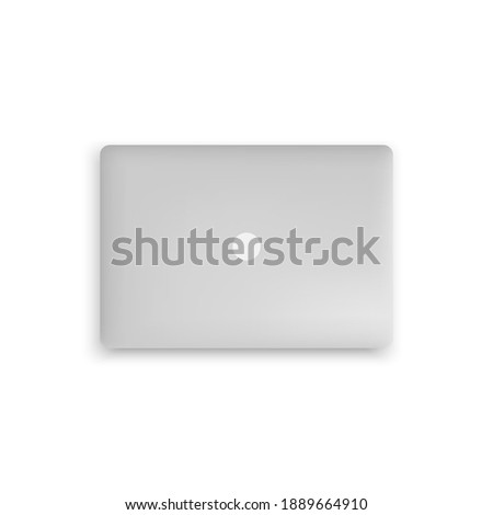 Closed realistic laptop top view, portable computer isolated on white background. Stock fotó ©