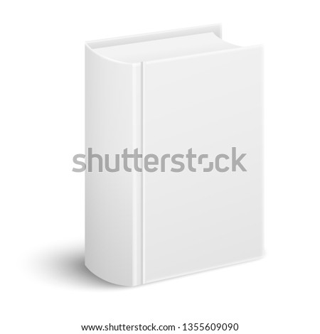 Closed realistic thick book standing cover and spine to the viewer in perspective view isolated on white background. Vector book mockup. ストックフォト ©