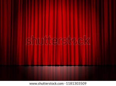Closed red curtain background and spotlight. Theatrical drapes. Vector illustration.