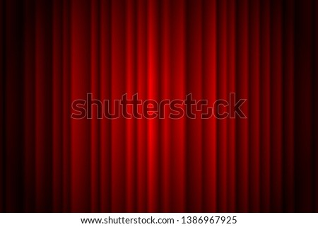 Closed red curtain stage background spotlight beam illuminated. Theatrical drapes. Vector illustration EPS 10