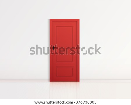 closed red door with frame...