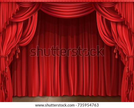 Closed red stage curtain realistic vector illustration. Grand opening concept, performance or event premiere poster, announcement banner template with theater stage