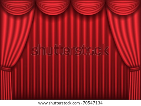 Closed Red Theater Curtain Background Vector Illustration