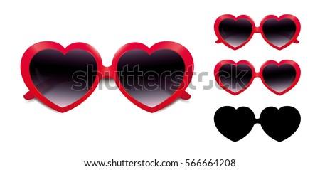 closed sunglasses hearts style