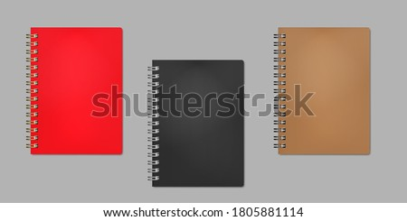 Closed wire bound notebook, realistic vector mock-up. Golden, silver, black metal spiral. Red, black, brown plastic cover. Color mockup set. Easy to recolor. Stockfoto ©
