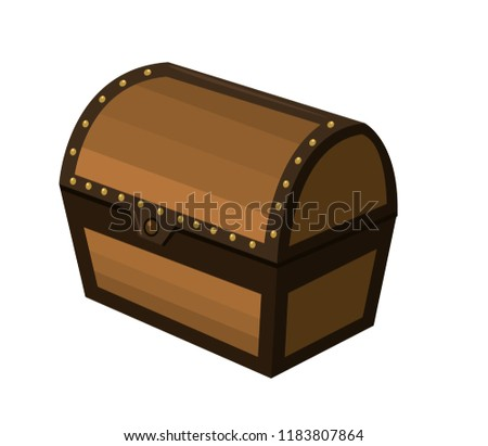 closed wooden chest box treasure