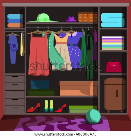 Closet wardrobe with fashion clothes. Closet wardrobe Wardrobe room with woman clothing: shoes and accessories, dress, shirt and bag, box. Closet wardrobe Flat style vector illustration.