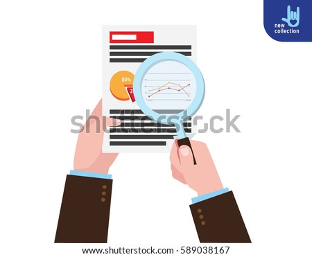 Closeup. Businessman holding magnifying glass. research market analysis. 
