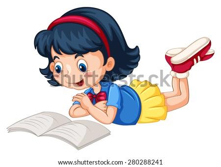 closeup happy girl reading book