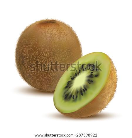 closeup kiwi and kiwi slices on