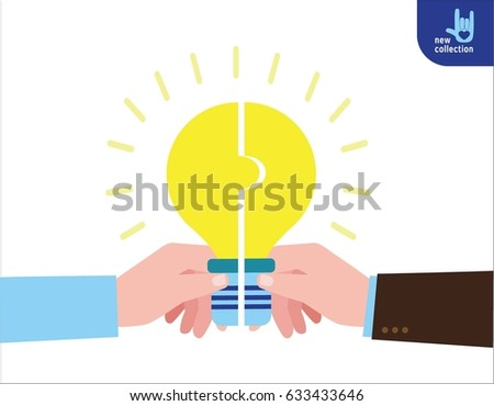 Closeup light bulb. Businessman hold puzzle in hand connected in lightbulb. Symbol of Cooperation. Partnership. teamwork. Successful. Vector flat cartoon character icon design illustration.