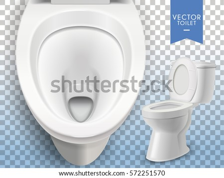 Closeup look at toilet mockup, white toilet in 3d illustration isolated on transparent background