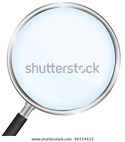Closeup of a magnifying glass, vector eps10 illustration