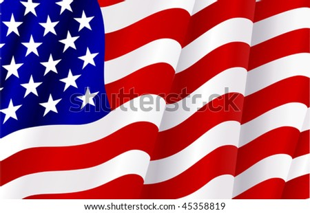 Closeup of a waving national flag of the United States of America - Stars and Stripes - Old Glory in red, white amd blue with fabric folds. Jpeg version is also available
