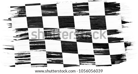 03100c6b432b0 Closeup of art brush watercolor painting checkered black and white racing  flag blown in the wind