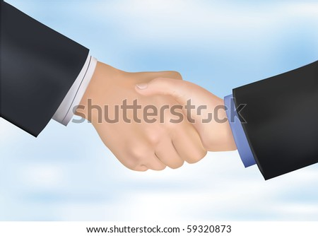 Closeup of business people shaking hands. Photo-realistic vector illustration