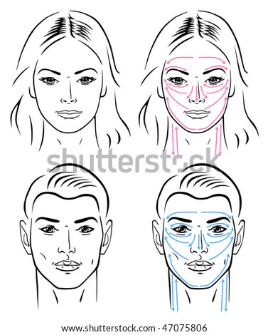 Closeup portrait of a young man and a young woman standing with facial massaging lines. - stock vector