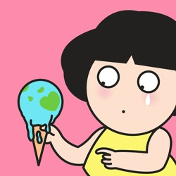 Closeup Sad Girl Looking At Melting Earth Shaped Icecream With Heart Land Inside. Earthday Concept Card Character illustration