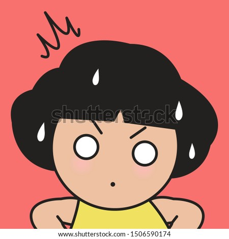 Closeup Stunned Girl With Big White Eyes Feeling Stressed Concept Card Character illustration