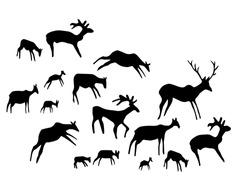 Closeup view age African tribe run goat figure life pictograph set white backdrop. Line dark black ink paint hand drawn grunge flat bison bull nature shape logo design retro past era mural print style