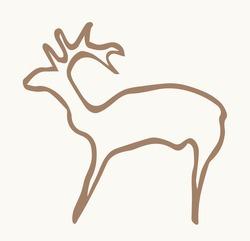 Closeup view age red African tribe run goat figure life pictograph set white backdrop. Line dark black ink paint hand drawn grunge flat bison bull shape logo design. Retro past era mural print style