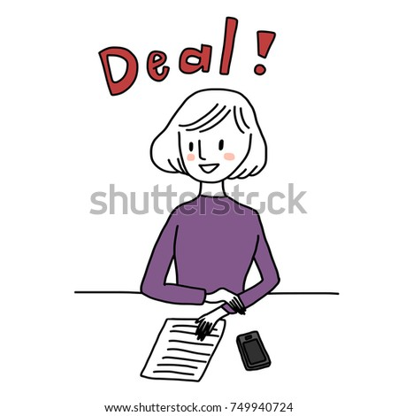 Closing a good deal concept with with cute businesswoman offering a document to sign. Vector illustration with hand-drawn style. #749940724