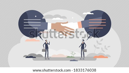 Closing deal as business sale contract agreement moment tiny person concept. Partners trade or purchase symbolic gesture as successful offer moment vector illustration. Businessman promise and trust.