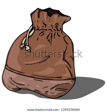ca6d54bab Vector illustration of a cloth bag. Hand drawn old cloth bag