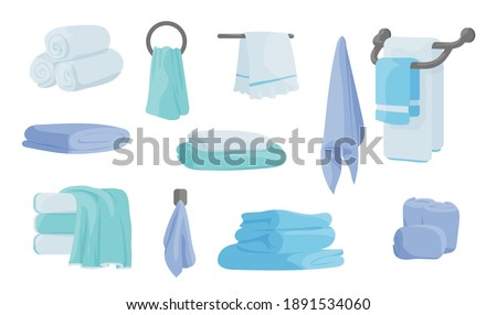 Cloth blanket. Folded fabric handkerchief, cartoon soft textile for kitchen and bathroom. Cotton napkin and rags, stacked rolled and hanging luxury blue, green and white towels vector isolated set