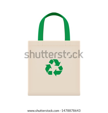 cloth eco bags blank or cotton yarn cloth bags, empty bags and green recycling symbol isolated on white, fabric cloth eco bag green empty template for campaign to use bags to reduce waste plastic