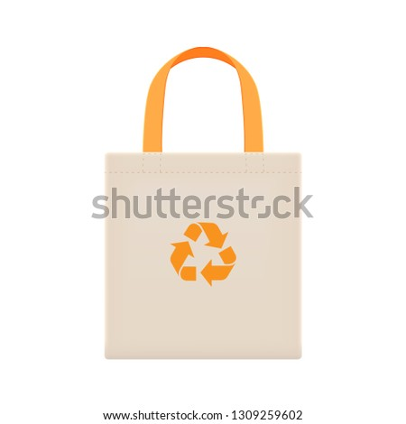 cloth eco bags blank or cotton yarn cloth bags, empty bags and orange recycling symbol isolated on white, fabric cloth eco bag brown empty template for campaign to use bags to reduce waste plastic