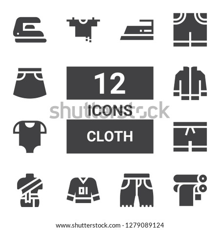 cloth icon set. Collection of 12 filled cloth icons included Paper roll, Shorts, Clothes, Baby clothes, Jacket, Clothes hanger, Pants, Skirt, Iron