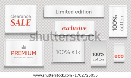 Cloth labels for apparel, premium brand white tags with crown symbol, limited edition textile badges, isolated silk and cotton eco fabric clothing, clearance sale, Realistic 3d vector illustration