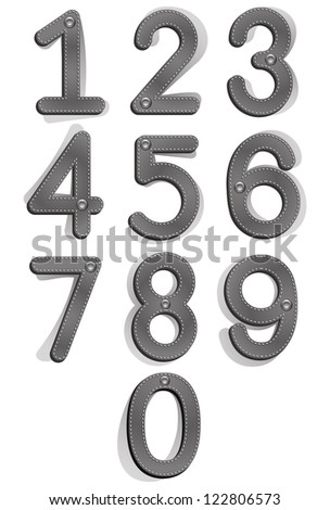 Cloth style numbers with seams and buttons, vector set.