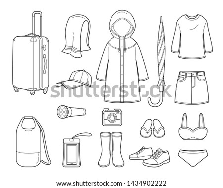 Clothes And Necessities For Rainy Season Travel Trip Outline, Voyage, Vacationing