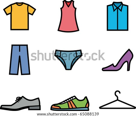 Clothes and shoes. Garment (Vector icons)