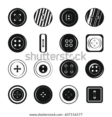 Clothes button icons set. Simple illustration of 16 clothes button vector icons for web