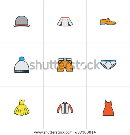 Clothes Colorful Outline Icons Set. Collection Of Dress, Beanie, Shorts And Other Elements. Also Includes Symbols Such As Dress, Gown, Man.