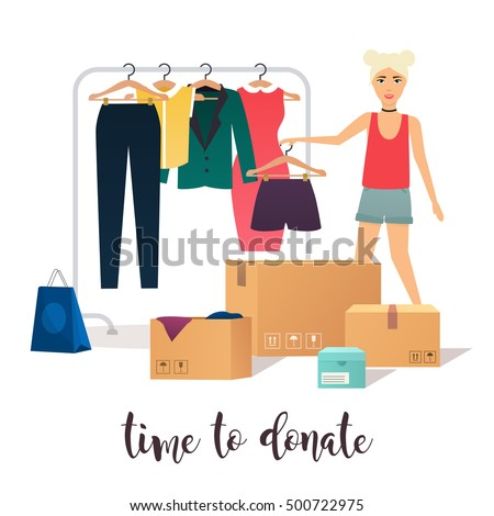 Clothes donation. Girl makes clothes donations. Boxes full of clothes. Vector concept illustrations.