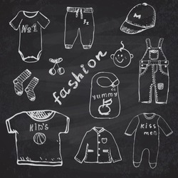 Clothes for baby boy set hand drawn sketch, on chalkboard background.