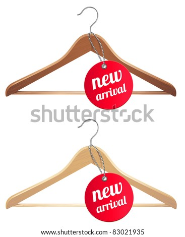 clothes hanger and new arrival tag