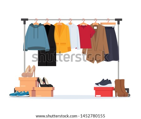 Clothes hanger with different casual woman clothes, footwear. Wardrobe. Vector illustration in flat style.