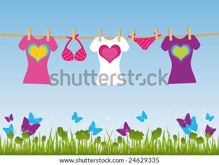 Clothes hanging on a rope on field background. All elements are on separate layers and can be easily edited.