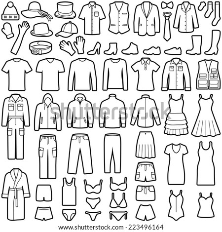 Clothes icon collection - vector illustration