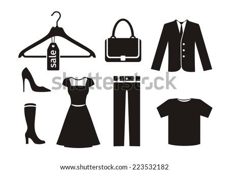 clothes icon set in black color