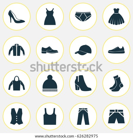 a63264a9 Clothes Icons Set. Collection Of Singlet, Dress, Female Winter Shoes And  Other Elements