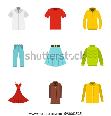 Clothes icons set. Flat illustration of 9 clothes vector icons for web